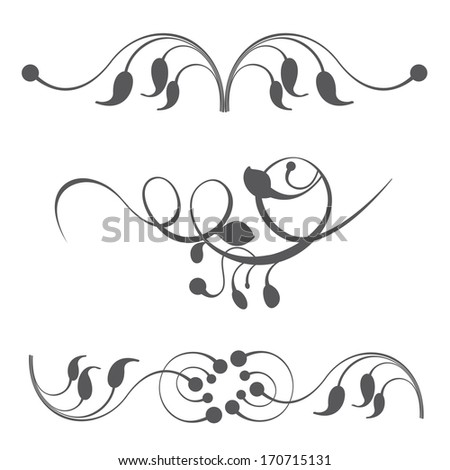 Collections of ornament set. Easy to edit. Perfect for invitations or announcements.  - stock photo