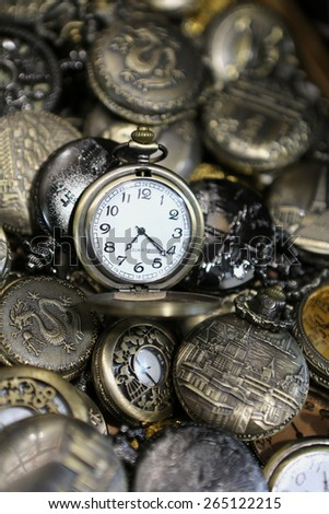 Collections of Pocket Watches Showing Time - stock photo