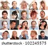 Collections of portraits of different people with furious, angry, shocked expressions - stock photo