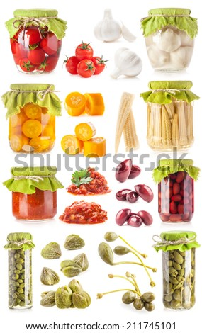 Collections of preserved vegetables in glass jar isolated on white - stock photo
