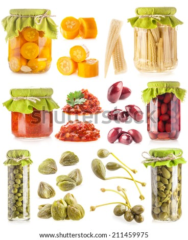 Collections of preserved vegetables isolated on white - stock photo
