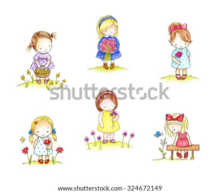 Collections of six drawings of little girls with flowers on white background - stock photo