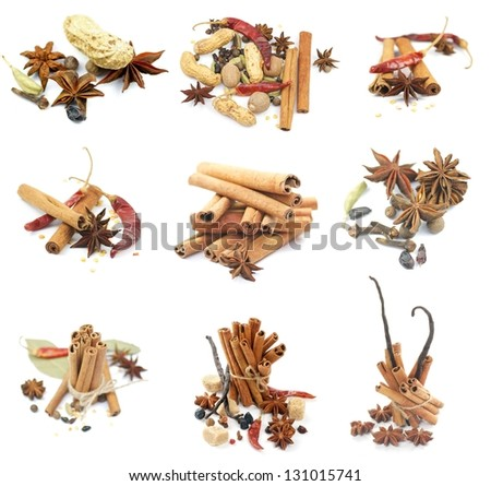 Collections of Spices with Cinnamon Sticks, Anise Stars, Peppercorn, Chili Peppers, Vanilla, Various Dried Nuts and Some Scented Pods isolated on white background - stock photo