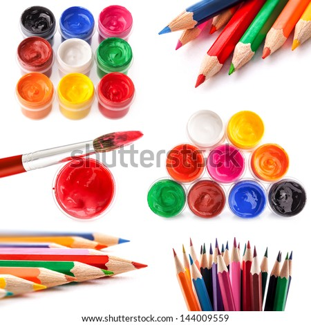 Collections of varicolored Paint and pencils isolated on white background - stock photo