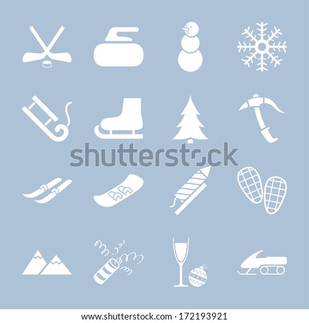 Collections of white winter holiday icons  - stock photo