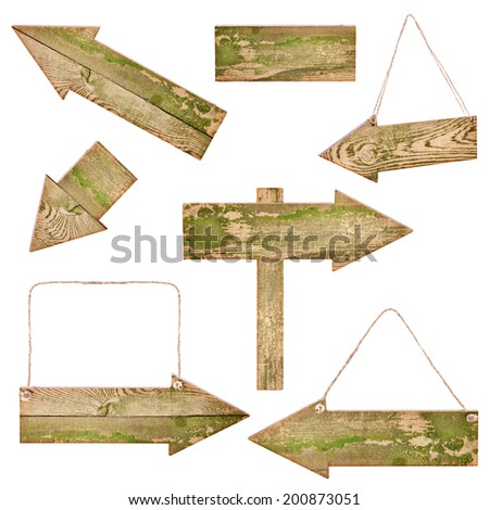 Collections of Wooden Arrows isolated on white background - stock photo