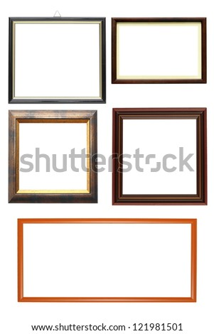 collections of wooden frames isolated over white background - stock photo