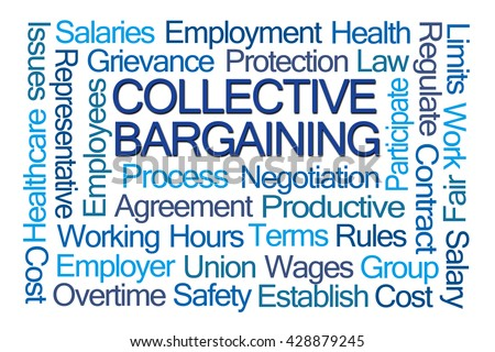 Collective Bargaining Word Cloud on White Background - stock photo