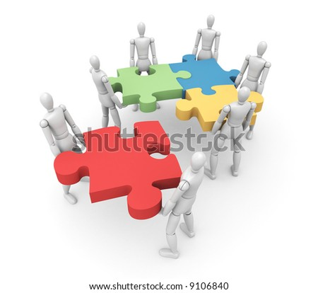 Team Illustrated People Work Together Push Stock