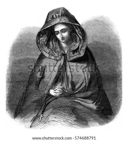Colleen, vintage engraved illustration. Magasin Pittoresque 1845.