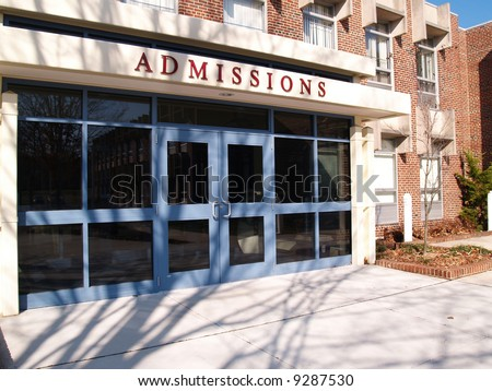 college admissions building - stock photo