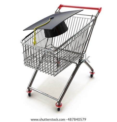 College And University Shopping concept with mortar board or graduation cap in a store shop cart as a metaphor for tuition and scholarship choices. 3d illustration
