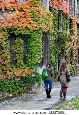 college building with fall colors - stock photo