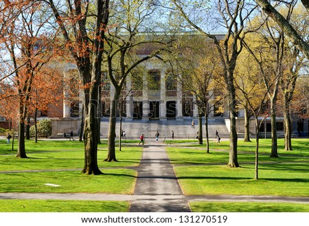 College campus in the spring - stock photo