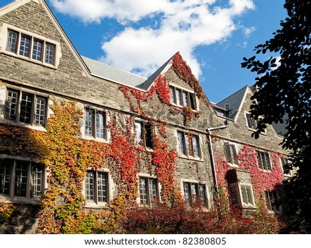 College Dorm with ivy clad walls - stock photo