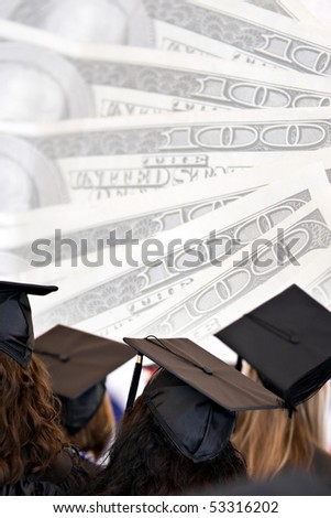 College education montage with graduates isolated over a background of money. - stock photo