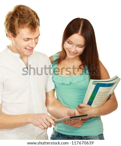 College friends with a laptop - stock photo