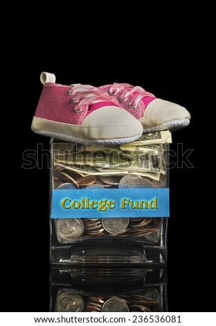 College fund jar for your little child. - stock photo
