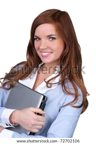 College girl carrying a laptop with a cute smile over white background