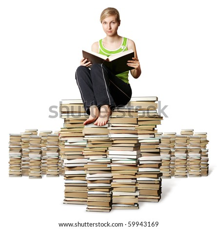 college girl studying with big book isolated on white - stock photo