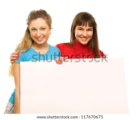 College girls holding a blank, isolated on white