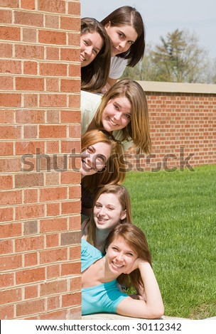 College Girls in a Row - stock photo