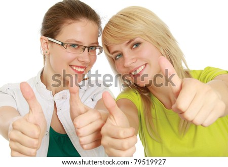 College girls showing ok, isolated on white - stock photo