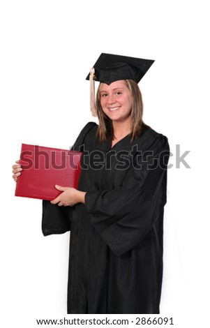 College graduate holding her red diploma against a white background