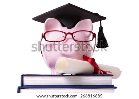 College graduate student diploma piggy bank - stock photo