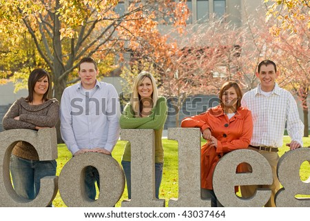 College Kids on Campus Grounds - stock photo