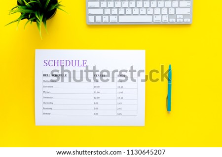 College School Schedule Lessons Bell Time Stock Photo Edit Now