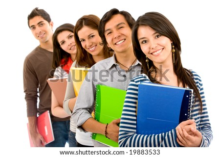 college or university students in a row - isolated - stock photo