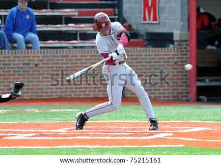 COLLEGE PARK, MD - APRIL 2: Florida State University infielder Justin Gonzalez swings at a pitch during a game against conference foe Maryland April 2, 2011 in College Park, MD. - stock photo
