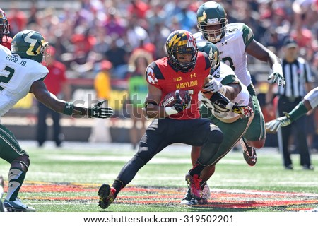 COLLEGE PARK, MD - SEPTEMBER 19: Maryland Terrapins running back Ty Johnson (6) carries the ball on a carry during a NCAA football game September 19, 2015 in College Park, MD.  - stock photo