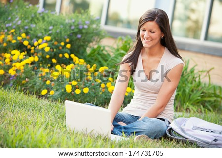 College: Pretty Girl Outside with Laptop