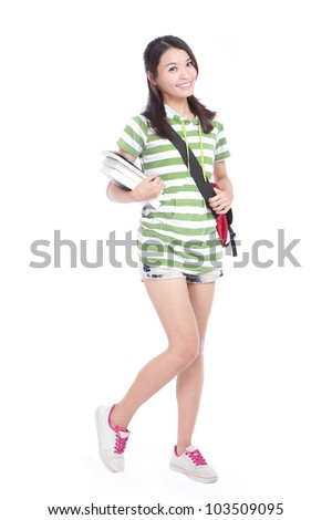 College Student girl. Isolated full length portrait of a beautiful young asian woman student. Isolated on white background