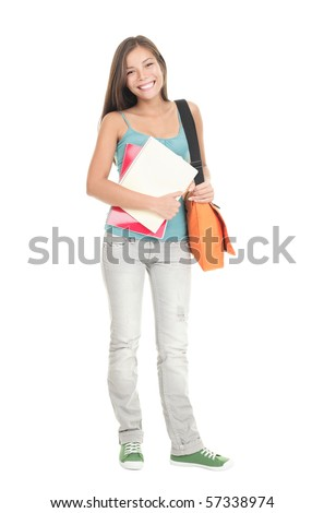 College Student girl. Isolated full length portrait of a beautiful young asian woman student. Beautiful smiling mixed race caucasian / chinese young woman model. Isolated on white background - stock photo