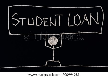 College student holding a sign - student loan, carrying the weight of a loan, unusual concept - stock photo