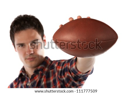 College Student Holding Football Isolated on White Background Focus on Football - stock photo