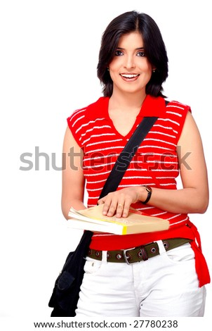 college student holding text book and hanging bag - stock photo