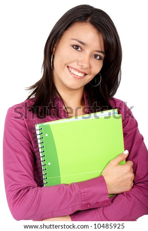 college student smiling and holding notebooks - isolated over a white background