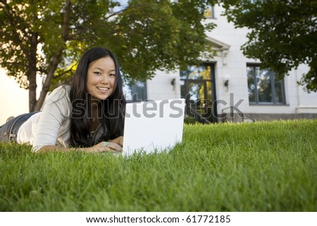 College student studying on Laptop