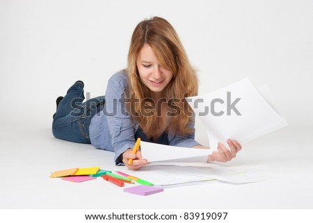 College student studying (swot up) for exam