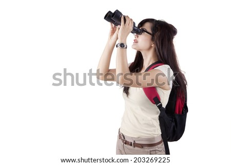 College student using binoculars. isolated on white background
