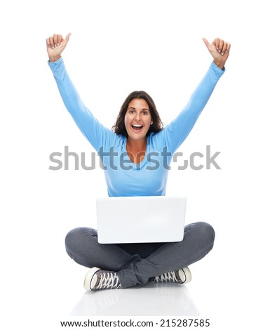 College Student With Laptop Laughing Arms raised