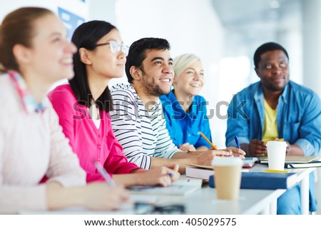 College students at lesson - stock photo
