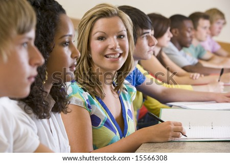 College students in a university lecture - stock photo