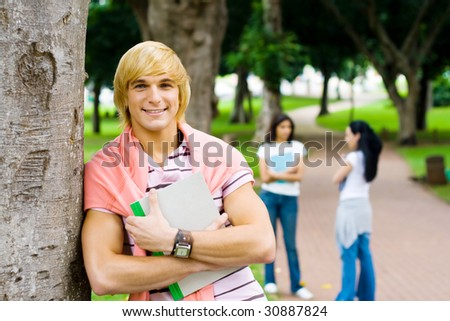 college students in park - stock photo