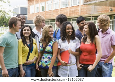 college students stood outside - stock photo