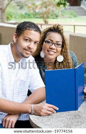 college students studying books - stock photo